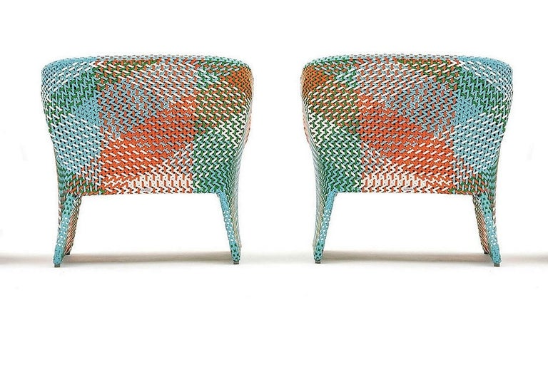 Contemporary Italian Outdoor Armchair, Handwoven Synthetic Fiber In New Condition For Sale In New York, NY