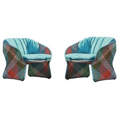 Contemporary Italian Outdoor Armchair, Handwoven Synthetic Fiber