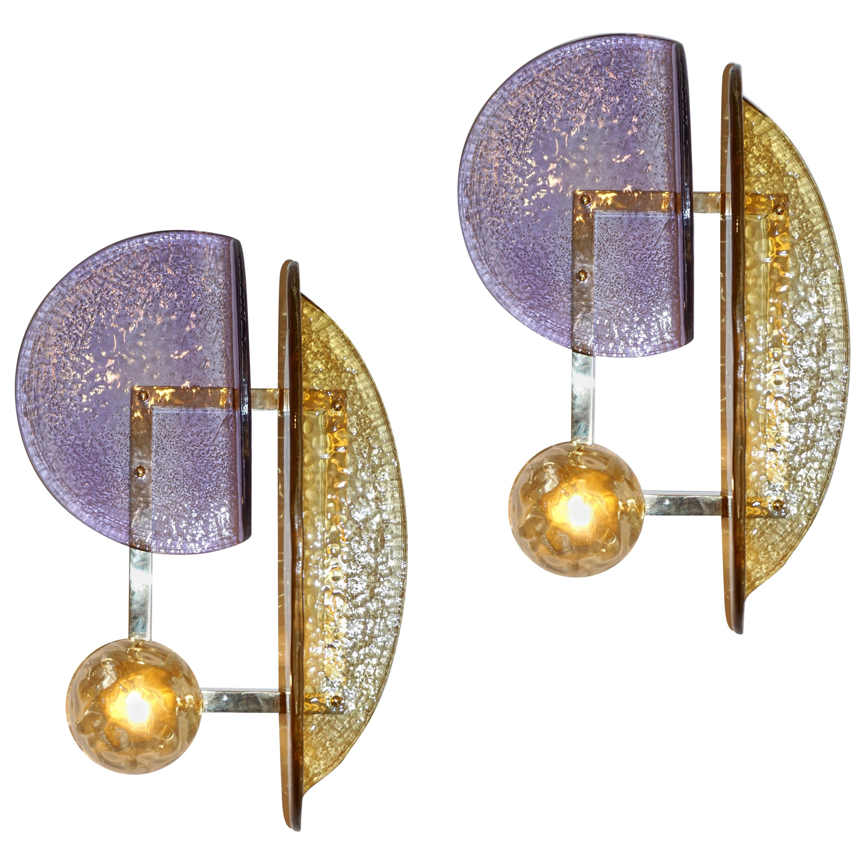 Contemporary Italian Pair of Amethyst and Amber Murano Glass Gold Brass Sconces