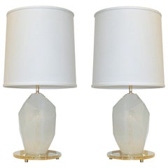 Contemporary Italian Pair of Faceted Solid Rock Frosted White Glass Brass Lamps