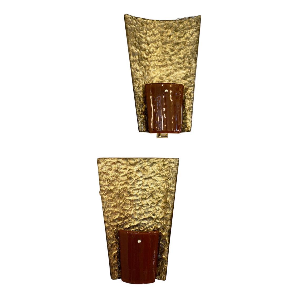 Contemporary Italian Pair of Gold and Amber/Orange Murano Glass Organic Sconces