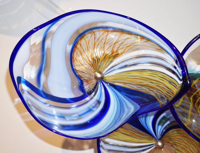 Contemporary Italian Pair of Gold Blue White Yellow Murano Glass Disc Sconces For Sale 5