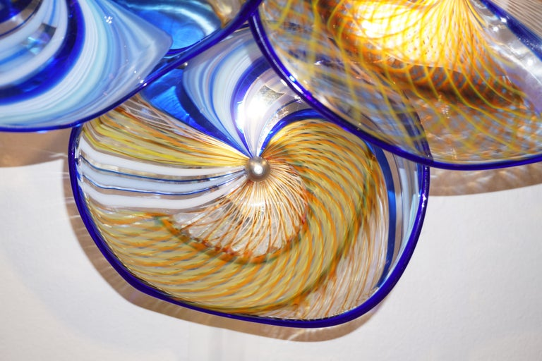 Contemporary Italian Pair of Gold Blue White Yellow Murano Glass Disc Sconces For Sale 6