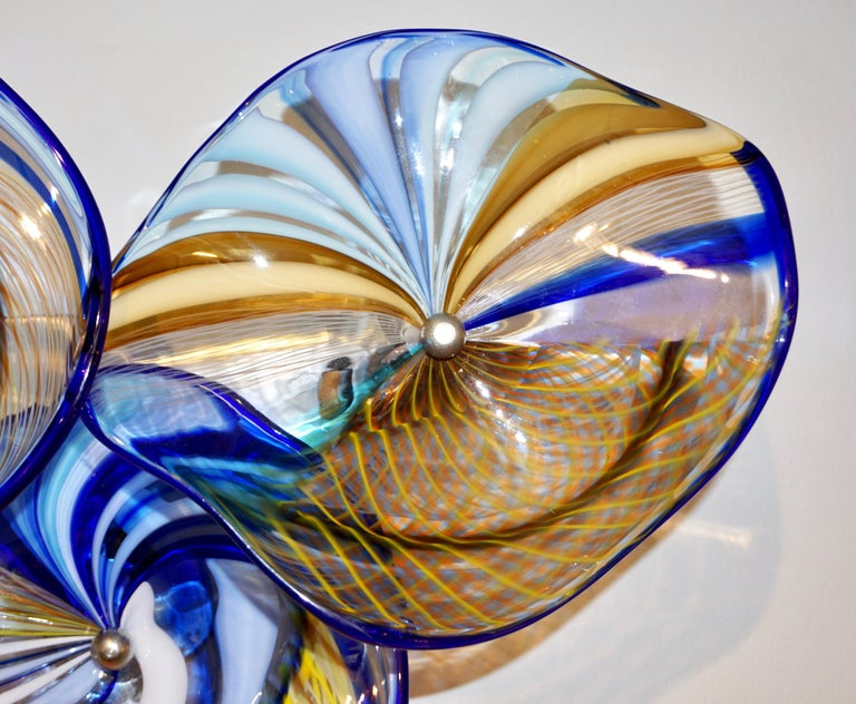 Contemporary Italian Pair of Gold Blue White Yellow Murano Glass Disc Sconces For Sale 8