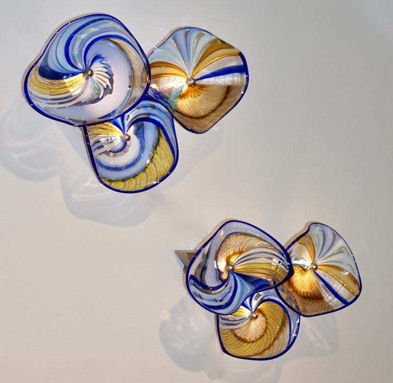 Contemporary Italian Pair of Gold Blue White Yellow Murano Glass Disc Sconces For Sale 9