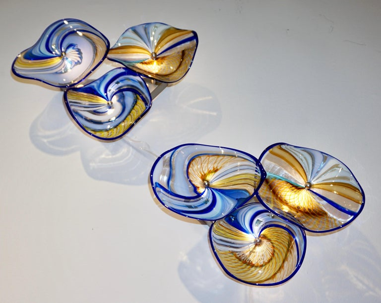 Contemporary Italian Pair of Gold Blue White Yellow Murano Glass Disc Sconces For Sale 10