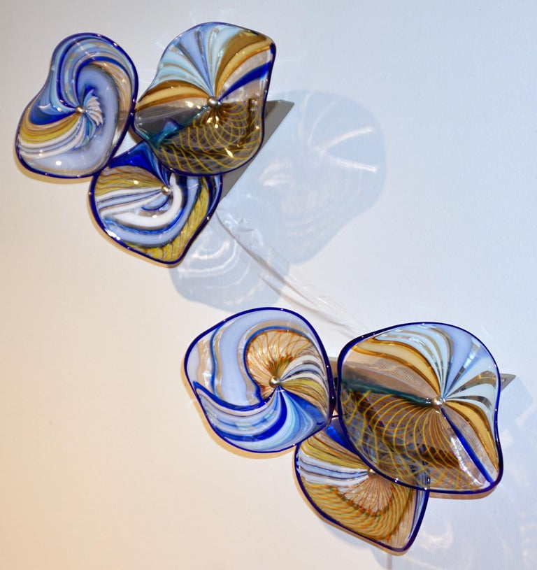 Contemporary Italian Pair of Gold Blue White Yellow Murano Glass Disc Sconces For Sale 11