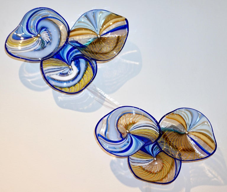 Organic Modern Contemporary Italian Pair of Gold Blue White Yellow Murano Glass Disc Sconces For Sale