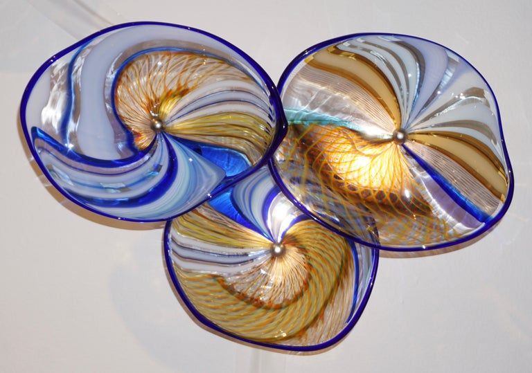 Hand-Crafted Contemporary Italian Pair of Gold Blue White Yellow Murano Glass Disc Sconces For Sale