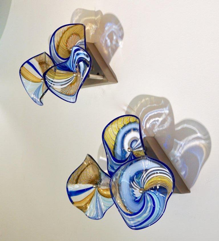Contemporary Italian Pair of Gold Blue White Yellow Murano Glass Disc Sconces For Sale 1