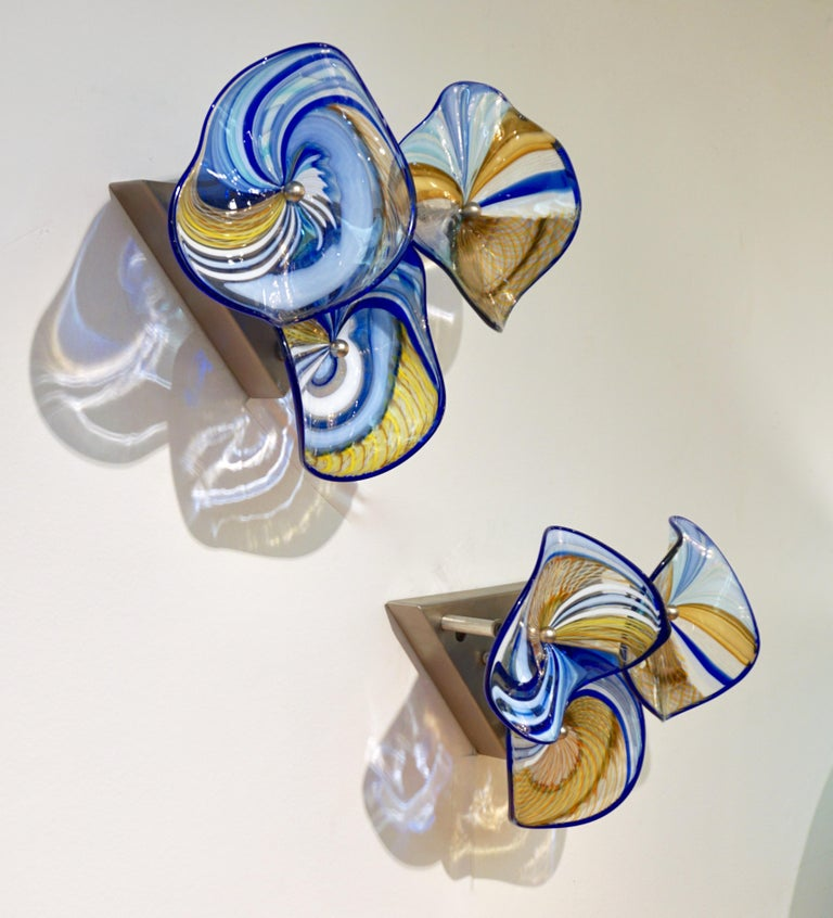 Contemporary Italian Pair of Gold Blue White Yellow Murano Glass Disc Sconces For Sale 13