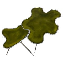 Contemporary Italian Pair of Side Tables with Glossy Green Top on Tripod Leg