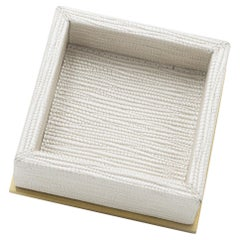 Contemporary Italian Pearlescent and Gilt Metal Square Valet Tray