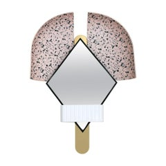 "Contemporary Italian Pink ""Bonnet"" Mirror in Gold Metal by Elena Salmistraro"