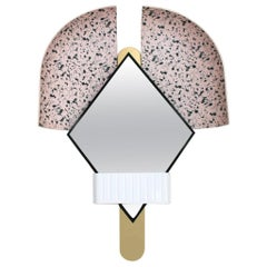 "Contemporary Italian Pink ""Bonnet"" Mirror in Gold Metal by Elena Salmistraro"