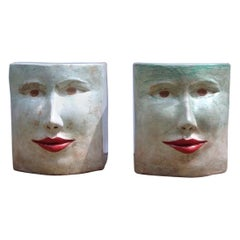Contemporary Italian Pop Art Blue Green Terracotta Face Stools / Side Tables