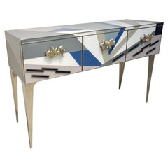 Contemporary Italian Pop Design Colored Glass Console / Sideboard on Nickel Legs