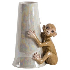 Contemporary Italian Porcelain Esotica Collection, Monkey by Vito Nesta