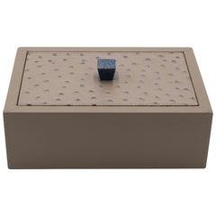 Custom Italian Rectangular Taupe Leather Box