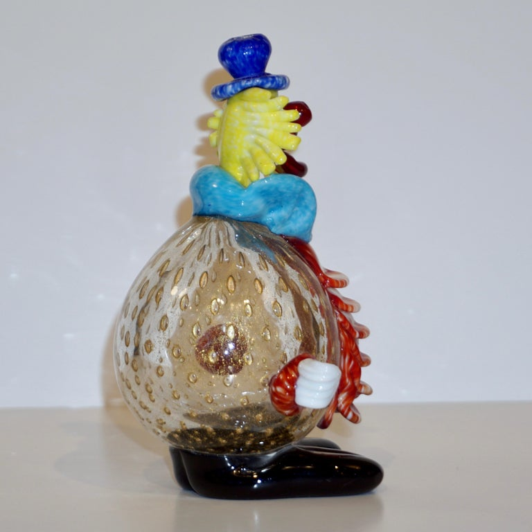 Contemporary Italian Red Amber Blue Murano Glass Clown Sculpture with Orange Tie For Sale 6