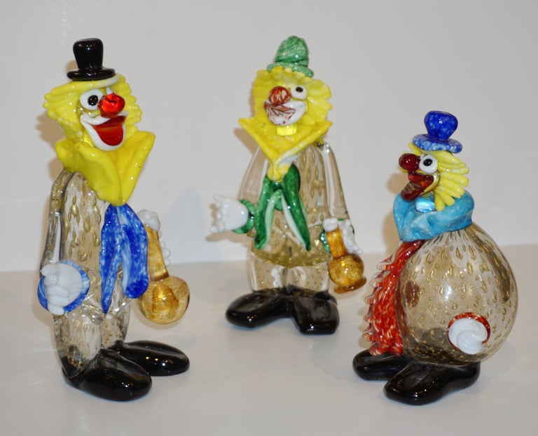 Contemporary Italian Red Amber Blue Murano Glass Clown Sculpture with Orange Tie For Sale 10