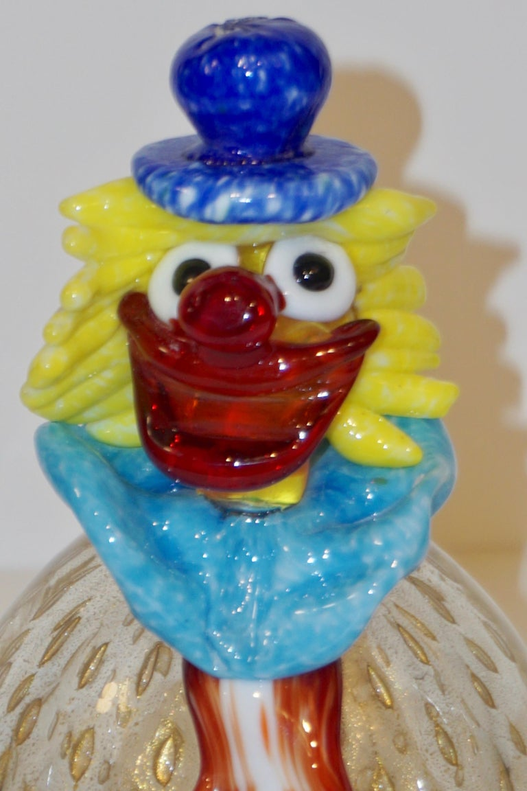 Art Glass Contemporary Italian Red Amber Blue Murano Glass Clown Sculpture with Orange Tie For Sale