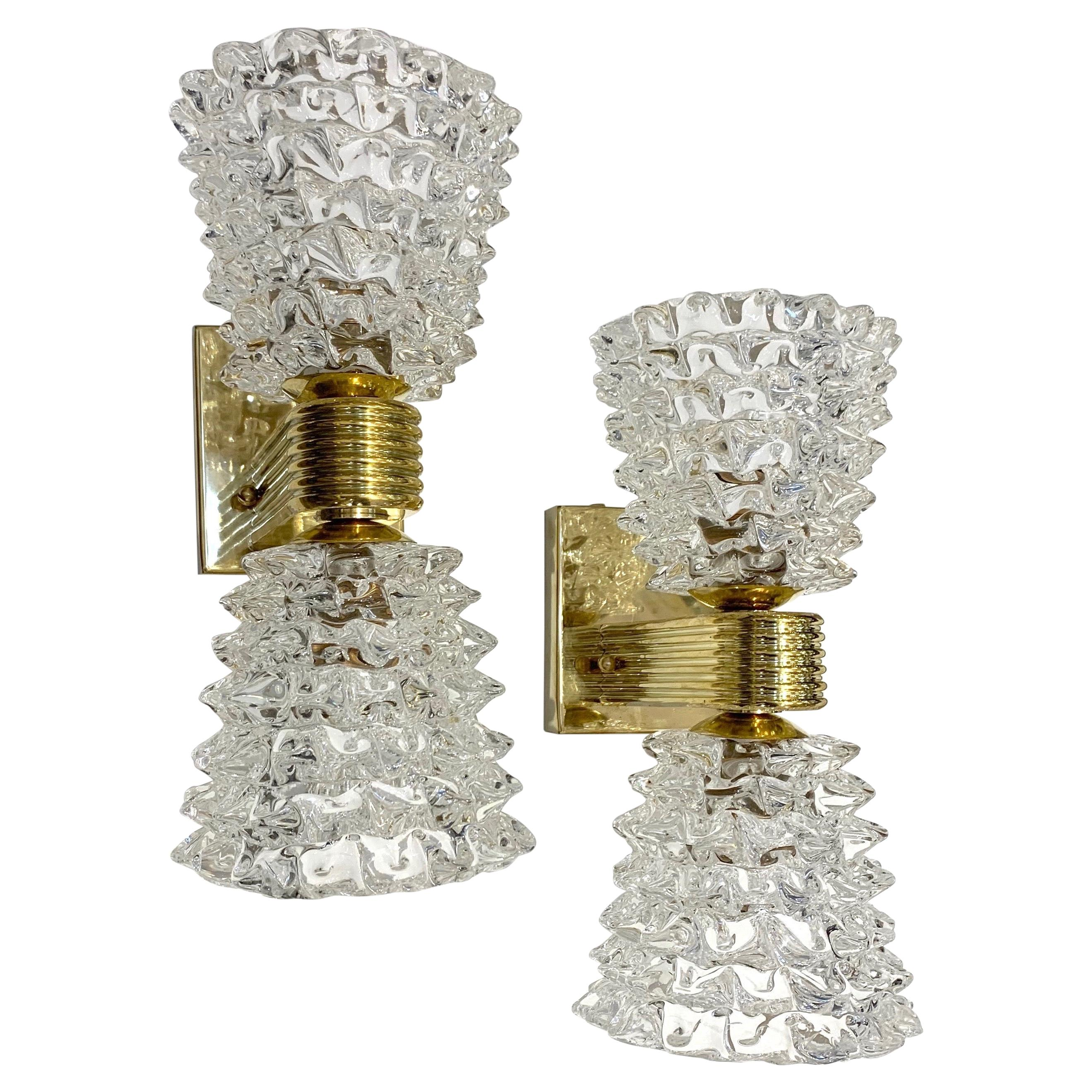 Contemporary Italian Rostrato Crystal Murano Glass & Brass Double-Lit Sconces