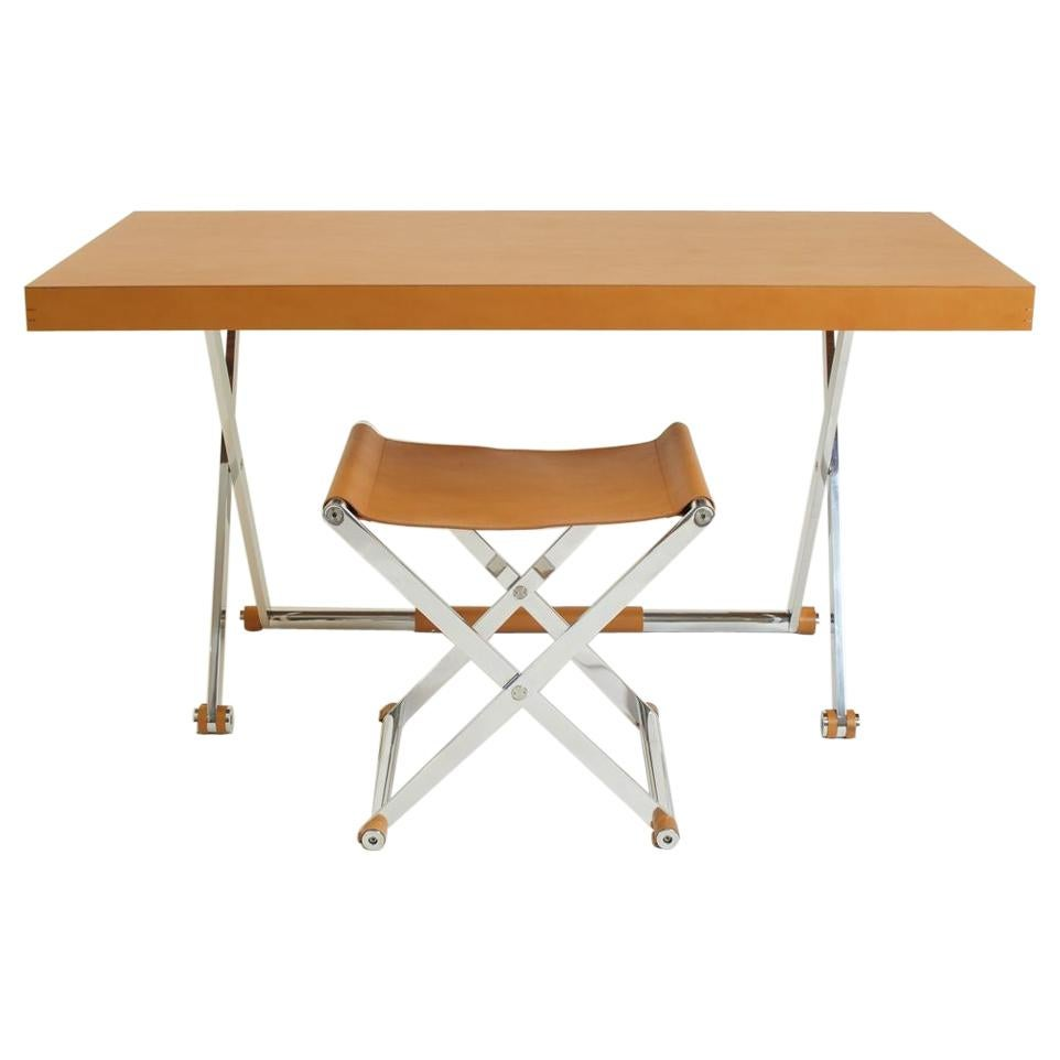 Contemporary Italian Saddle Brown Leather Desk with Matching Stool