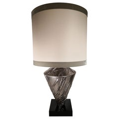 Contemporary Italian Silver Plated Hand Decorated Wooden Lamp