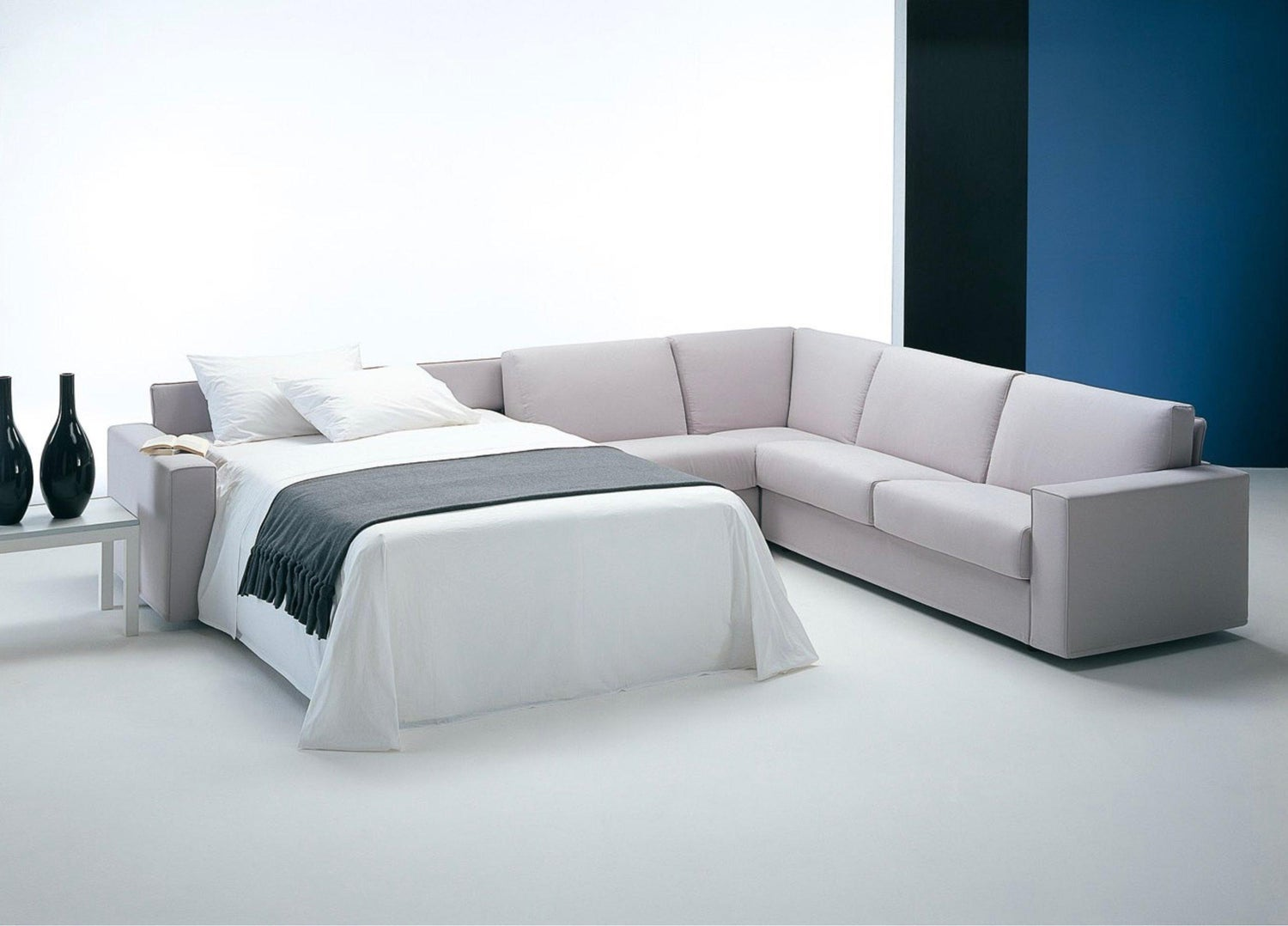 Contemporary Italian Sofa Bed with Chaise Lounge and Storage Space, New
