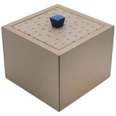 Custom Italian Square Taupe Leather Box