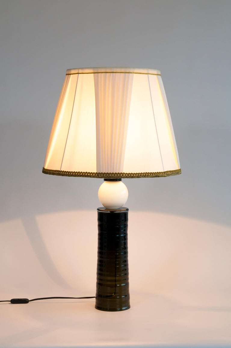 Contemporary Italian Table Lamp in Blown Murano Glass Black and White For Sale 5