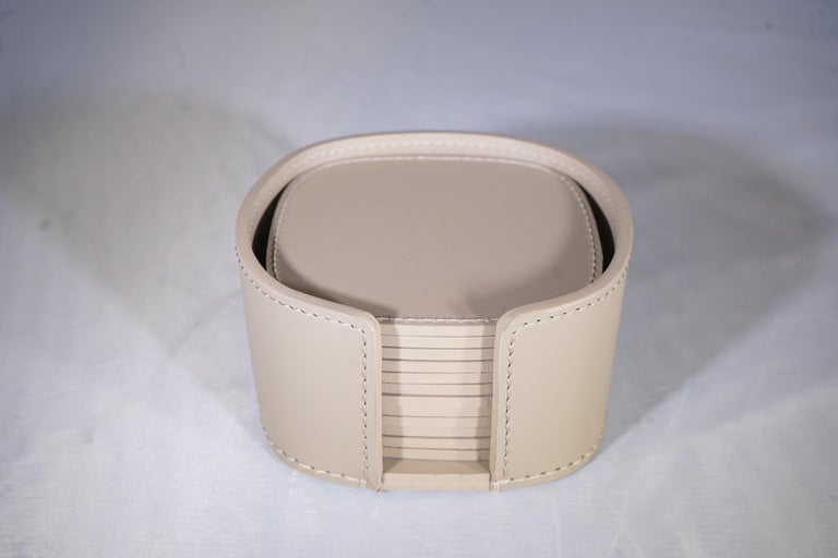 Contemporary Italian Taupe Leather Rudi Acquerello Coaster Set In New Condition In Aspen, CO