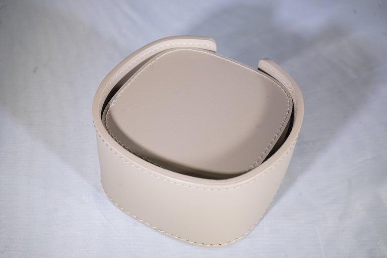 Contemporary Italian Taupe Leather Rudi Acquerello Coaster Set 1