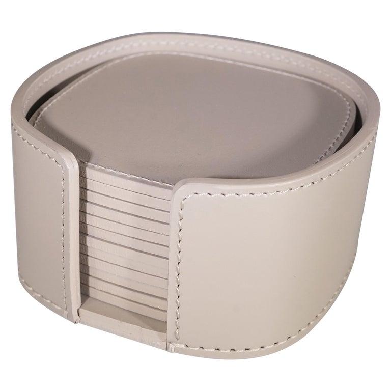 Contemporary Italian Taupe Leather Rudi Acquerello Coaster Set