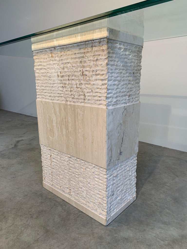 Contemporary Italian Travertine Marble Console Table after Artedi For Sale 3