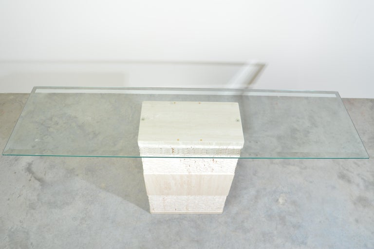 Tempered Contemporary Italian Travertine Marble Console Table after Artedi For Sale