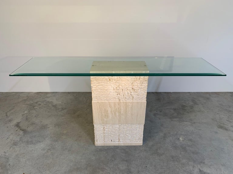 Contemporary Italian Travertine Marble Console Table after Artedi In Excellent Condition For Sale In Southampton, NJ