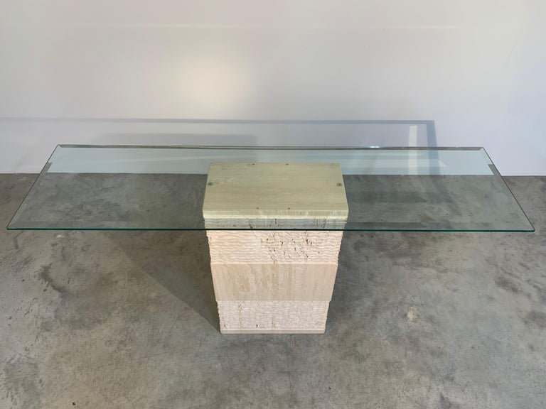 Contemporary Italian Travertine Marble Console Table after Artedi For Sale 1