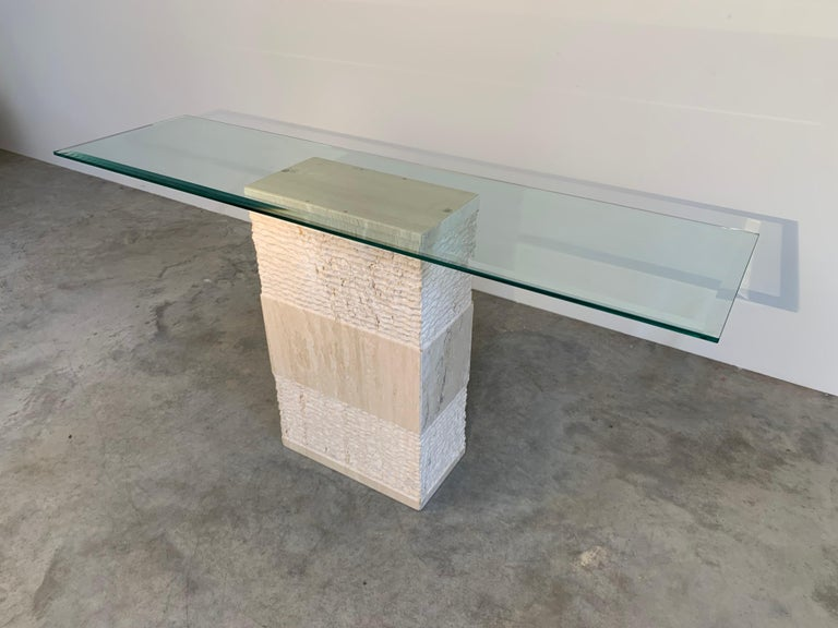 Contemporary Italian Travertine Marble Console Table after Artedi For Sale 2