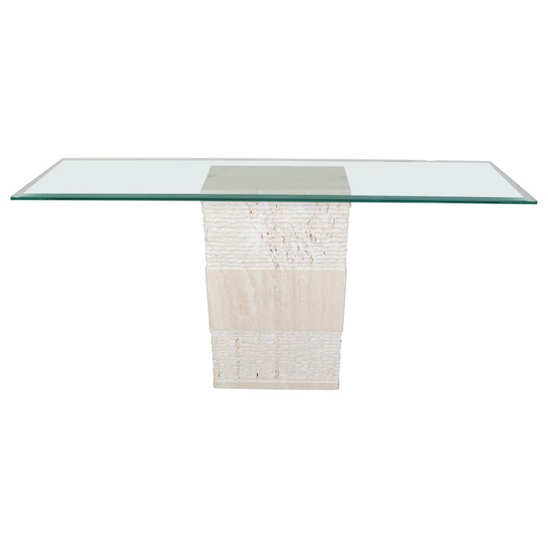 Contemporary Italian Travertine Marble Console Table after Artedi For Sale
