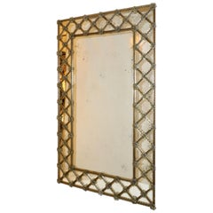 Contemporary Italian Venetian Geometric Amber Gold Murano Glass Lattice Mirror