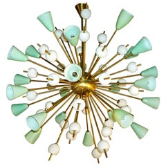 Contemporary Italian White and Mint Green Murano Glass Sputnik Brass Chandelier