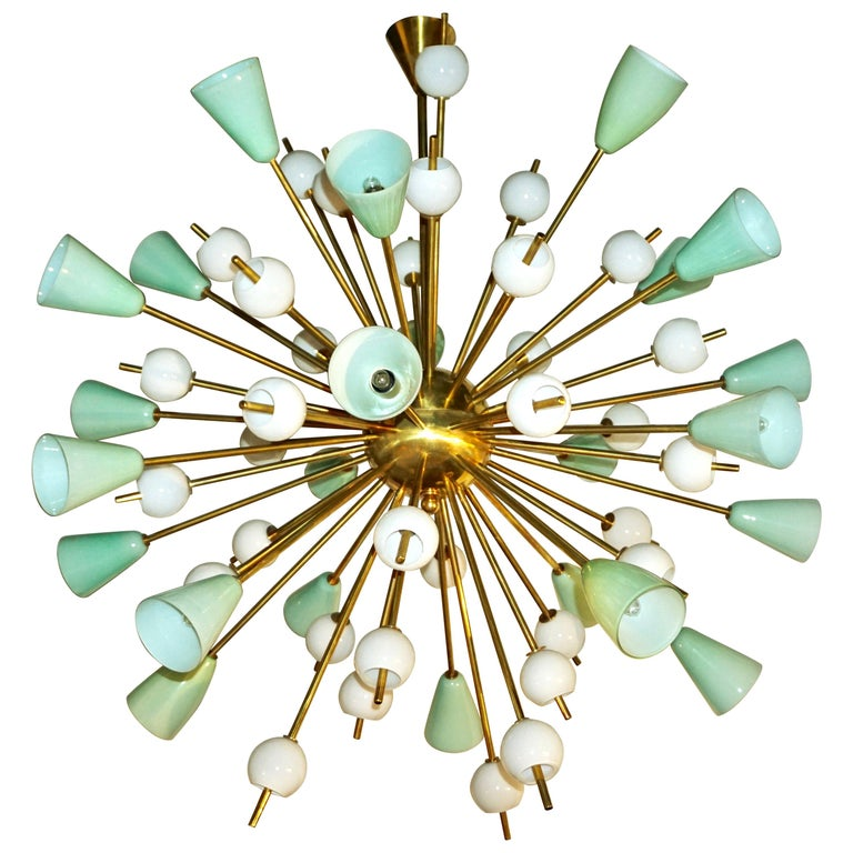 Contemporary Italian White and Mint Green Murano Glass Sputnik Brass Chandelier For Sale