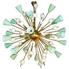 Contemporary Italian White and Mint Green Murano Glass Sputnik Brass Chandelier