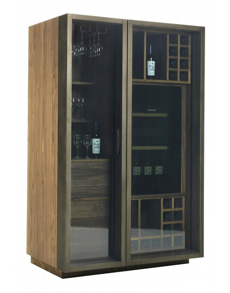 Modern Contemporary Italian Wine Storage Cabinet in Solid Walnut For Sale