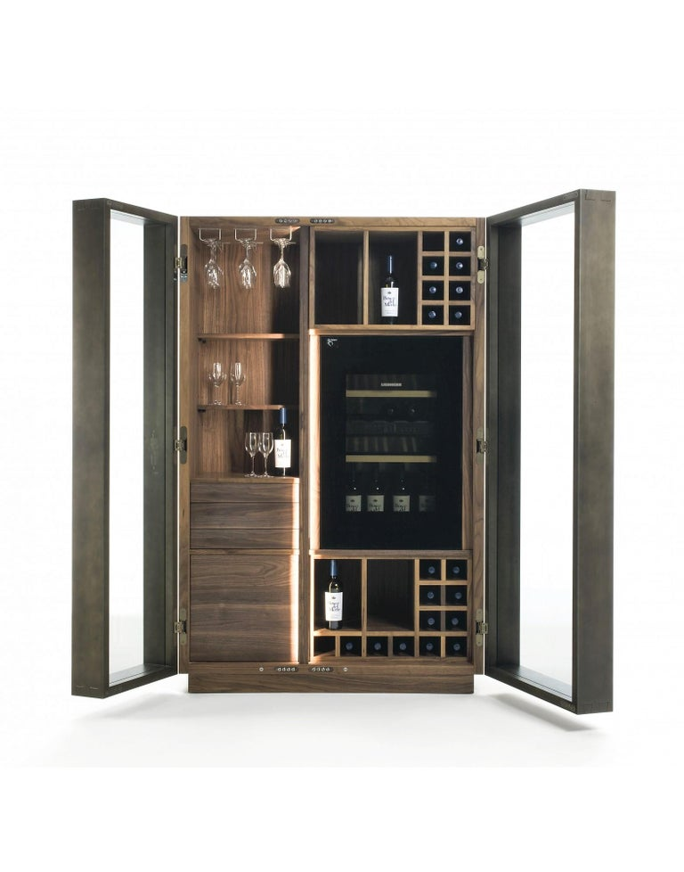 Contemporary Italian Wine Storage Cabinet in Solid Walnut In New Condition For Sale In New York, NY