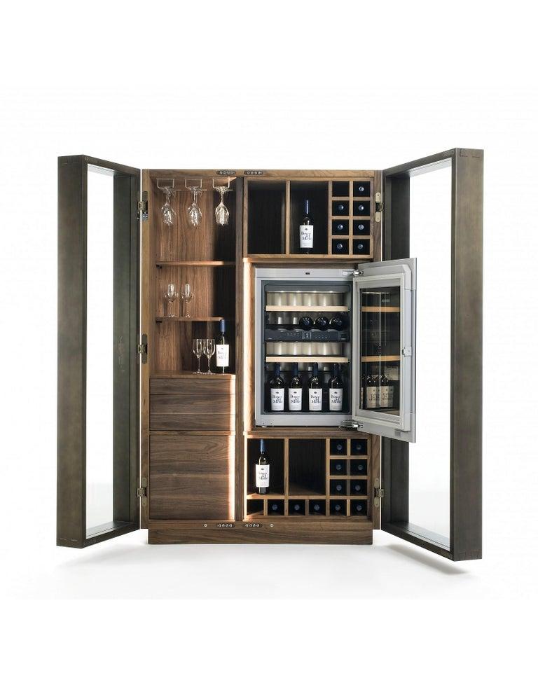Glass Contemporary Italian Wine Storage Cabinet in Solid Walnut For Sale