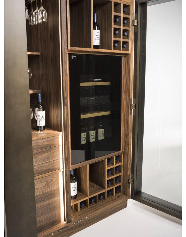 Contemporary Italian Wine Storage Cabinet in Solid Walnut For Sale 1