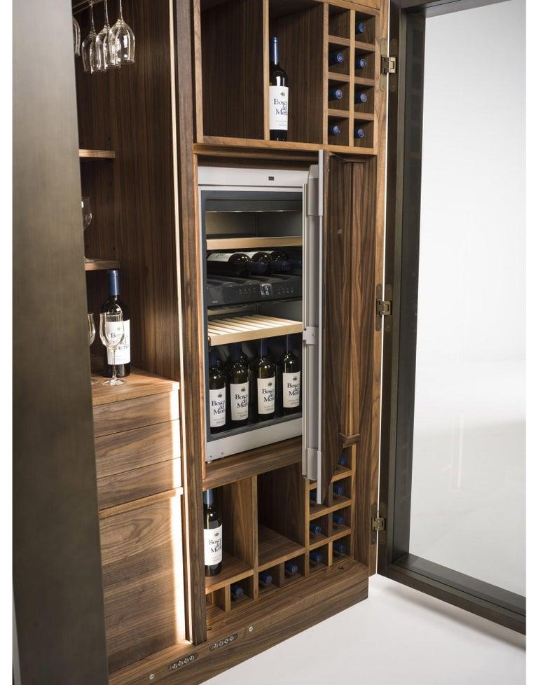 Contemporary Italian Wine Storage Cabinet in Solid Walnut For Sale 2